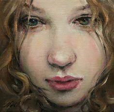 "OIL PAINTING Original by Moonglance OOAK 5""x5""x1.5 "" Portrait | eBay"
