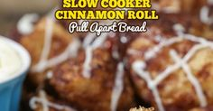 Slow Cooker Cinnamon Roll Pull Apart Bread is a simple recipe that combines the best part of your favorite monkey bread and homemade cinnamon rolls in a perfectly snackable treat cooked in your crockpot. Ooey gooey, soft and buttery sweet cinnamon roll morsels that you pull apart in little bite-sized pieces. Pure heaven!