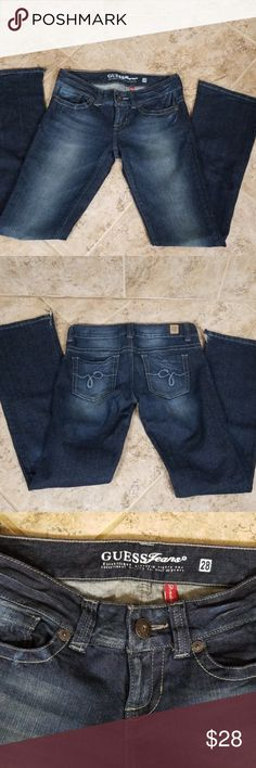 Guess Dark wash Jeans GUESS... DARK WASH .. Daredevil boot cut jeans..  never wore..inseam 32inches excellent condition Guess Jeans Boot Cut 791a4f11fcf4f