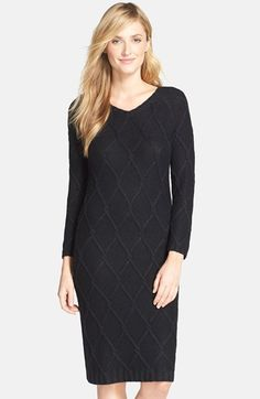Marc New York by Andrew Marc Metallic Cable Knit Sweater Dress available at #Nordstrom