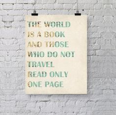 the world is a book - inspirational quote