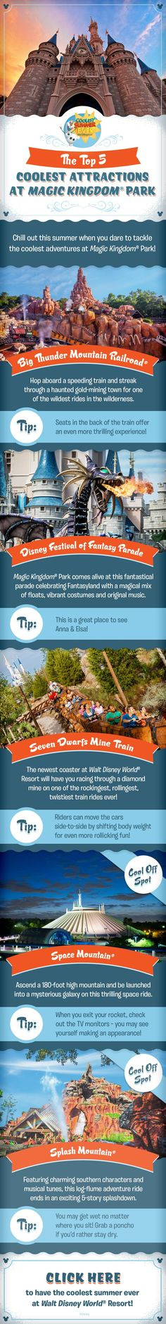 Check out the Top 5 Coolest Attractions at Magic Kingdom Park and get ready to have the Coolest Summer Ever as you plan your family vacation at Walt Disney World! Whether you are craving thrills on Big Thunder Mountain Railroad or Space Mountain, looking to cool off on Splash Mountain, or wanting to check out the Festival of Fantasy Parade, there's something for everyone in your family to enjoy!