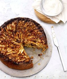 Australian Gourmet Traveller gluten free recipe for flourless apple, almond, raisin and ginger cake by Dugal Mackie at The Cooks Larder in Avalon.