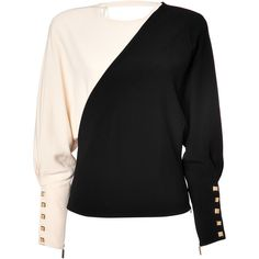 Emanuel Ungaro Two-Tone Top (€434) ❤ liked on Polyvore featuring tops, blouses, sweaters, shirts, black, button top, form fitting tops, loose fitting tops, loose tops and evening tops