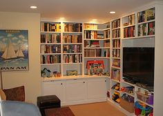 """Built-ins in the basement! This would really make our basement den/playroom feel more """"finished."""""""