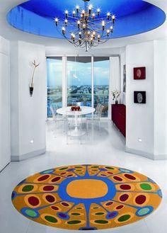 Miami interior design, spectacular colorful rug