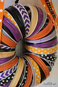 Halloween Wreath - Make this darling Halloween wreath with mason jar rings and washi tape. #Halloween #Craft #DIY