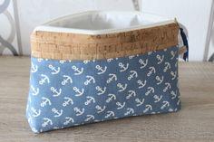 Maritimes Kosmetiktäschchen mit Ankern und Kork / small beauty case with anchor pattern and cork made by zwergenhexe via DaWanda.com