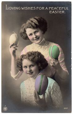 Edwardian Hand Tinted Real Photo Easter Postcard Two Beautiful Women With Eggs $3.25