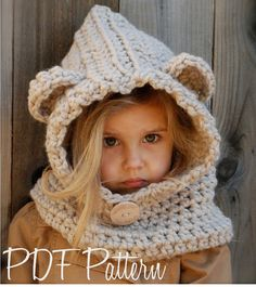 CROCHET patrón - Baylie oso capucha (3/6 meses, 6/12 meses, 12/18 meses, niño, niño, adultos tamaños)