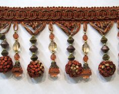 Victorian Style beaded tassel fringe IN brick cinamon gold and more