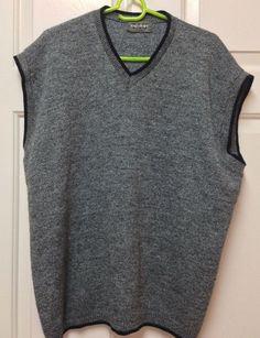 Men's Sweater Vest Tag Sport V Neck Sleeveless Gray XL Golf Tank Top USA Made #TagSport #Vest