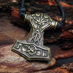 Bronze Mjolnir Thor's Hammer Thor Face Vikings by MAGICrebEL