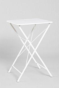 folding white metal outdoor table