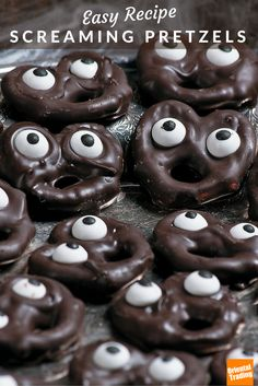 If you are looking for party or preschool Halloween snacks, this freakishly easy Halloween recipe will have your guests screaming for more. It features crunchy mini twist pretzels that have been dunked in melted dark chocolate (add a little vegetable oil to the chocolate for smoothness) and topped with candy eyeballs. Allow to set for 30 minutes. Open wide!