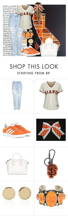 """""""SF Giants"""" by kaylajames234 ❤ liked on Polyvore featuring Topshop, Majestic, adidas Originals, Givenchy, Coach, Magdalena Frackowiak and Harpo"""