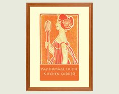 Kitchen Goddess art nouveau print 11x14 by Visuaria on Etsy