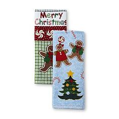 Essential Home -2-Pack Terry Cloth Kitchen Towels - Gingerbread Man $5.39