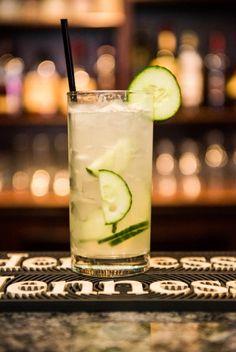 CUCUMBER ST. GERMAIN COCKTAIL: Hendricks gin, St Germain elderflower liqueur, lemonade, soda water, fresh squeezed lemon, diced cucumber
