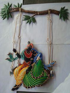 Radha Krishna on Jula Krishna Birthday, Art Of Dan, Diwali Craft, Krishna Art, Mural Art, Rangoli Designs, Cool Art, Awesome Art, Paint Designs