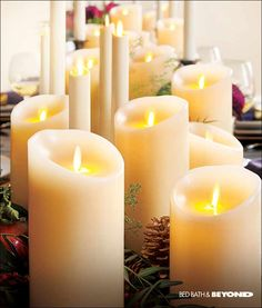 "Hosting a holiday party? Create a warm, welcoming tabletop with LuminaraTM candles. They're flameless, but will ""burn"" bright all night. They create a relaxing glow in any room of the house. Try adding a few to your mantel, end tables in the living room and even on a shelf in the bathroom for a festive glow through the holidays. The best part is that you can keep them out year-round to keep that inviting, soft look."