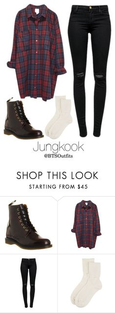 """""""Horseback riding with Jungkook"""" by btsoutfits ❤ liked on Polyvore featuring Dr. Martens, Monki, J Brand and Johnstons of Elgin #KoreanFashion"""