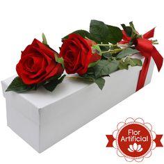 Dupla Paixão de Rosas Vermelhas Artificiais