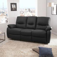 Fauteuil relax noir manuel Joey prix promo Miliboo 249 00 € TTC