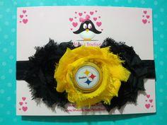 Pittsburgh Steelers headband, football headband, baby headband, infant headband, toddler headband. $12.00, via Etsy.