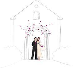 faire part de mariage illustration pour le livret de messe - Exemple De Livret De Messe Mariage