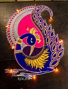 51 Diwali Rangoli Designs Simple and Beautiful - TipsMAXX Rangoli Designs Peacock, Rangoli Designs Latest, Rangoli Patterns, Colorful Rangoli Designs, Rangoli Ideas, Rangoli Designs Diwali, Rangoli Designs Images, Diwali Rangoli, Peacock Art
