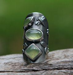 Ring | SpiralStone Designs. Prehnite and sterling silver