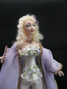 A 1/12 scale Miniature Porcelain Lady doll in her by KaysStudio, $165.00