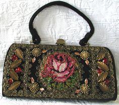 Gorgeous Vintage  Beaded & Needlepoint Rose Handbag