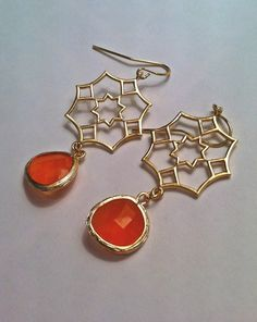 Geometric Gold Pendant Earrings with Orange Glass by PacificAndKey, $23.00