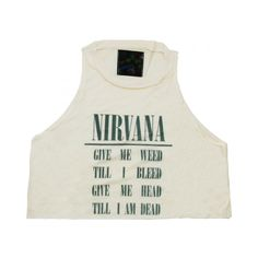 NIRVANA TANK (£24) ❤ liked on Polyvore featuring tops, shirts, tank tops, crop tops, crop tank, rocker shirts, crop shirts, lightweight shirt and crop top