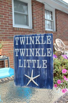 Beach Sign Twinkle Twinkle Little Starfish Baby Nursery Coastal and cottage Decor. $32.50, via Etsy.