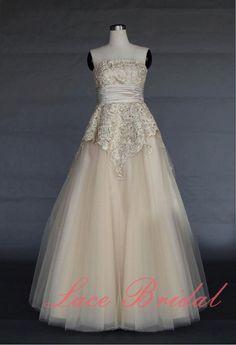 Champagne Wedding dress  Prada Lace Bridal gown by LaceBridal, $210.00