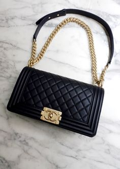 *NEW* 2017 AUTH CHANEL BOY BAG Black Quilted Caviar Leather Light Gold Chain Bag $5200.0