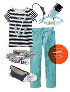 Girl Clothes: Big Girl Inspiration Board #01: Navy and Aqua Outfit from The Kids' Dept.
