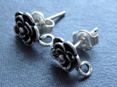 Solid Sterling Silver Rose Earring Posts  by lilysoffering on Etsy  $7.75