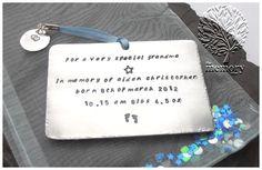 Aluminium Handstamped Keepsake Wallet Cards. Baby Memorial Keepsake. www.thememorytree.co.uk