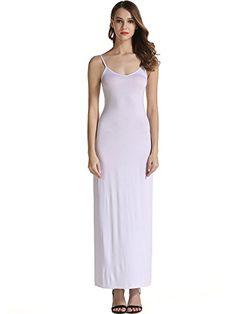 KIRA Women's Adjustable Spaghetti Straps Long Cami Slip Dress (Medium, White)