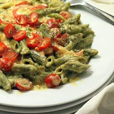 Spinach Penne with Red Bell peppers, Cherry tomatoes in Chipotle Habanero garlicky Cashew cream sauce. vegan - Very pretty dish w/ the green spinach pasta and cherry tomatoes