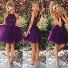 Dark Purple Short Homecoming Dresses 2016 Halter Neck Beaded Pleats Tulle Mini Key hole Back Party Gowns Sexy Club Dress Custom Made