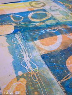 Gelatin Printing on slippery paper - Linda Germain Printmaking