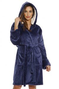Hooded Velour Robe for Women with Sherpa Lined Hood - Navy - Clothing 8665a0f1a