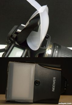 Two great DIY flash diffusers  made from a single milk jug- one for on-camera flash, one for a slave flash.