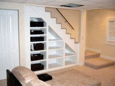 Trendy Ideas Unfinished Basement Storage Shelves Under Stairs Basement Makeover, Basement Storage, Basement Stairs, Stair Storage, Basement Renovations, Home Remodeling, Home Renovation, Basement Ideas, Stair Shelves