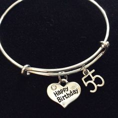 Happy 55th Birthday Expandable Charm Bracelets Adjustable Bangle Gift (Other Numbers Available)